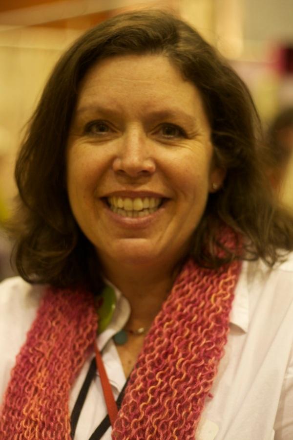 Andrea wearing her SweetGeorgia cowl