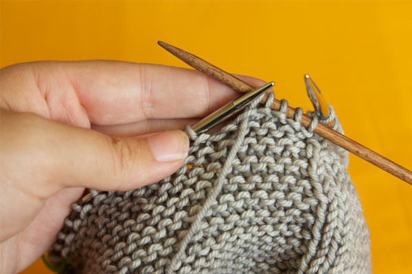 This is what it looks like when you have knit a few stitches with your DPN