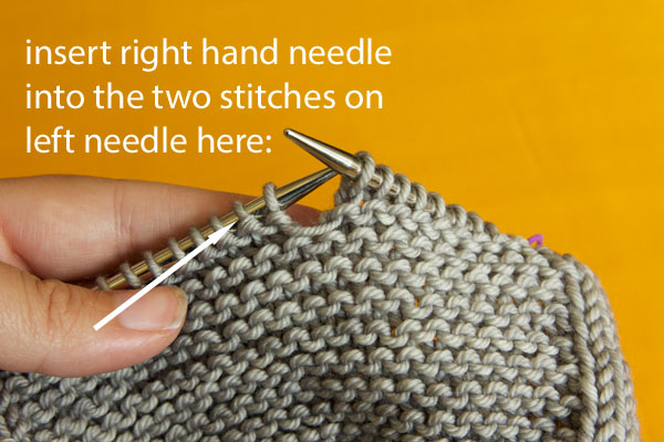 how to read knitting k2tog