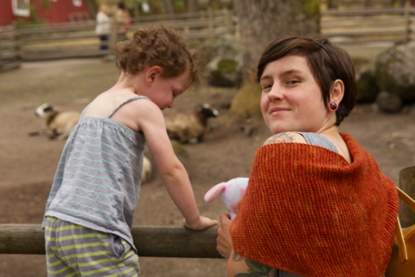 Emily in her Rae with Hunter at the petting zoo (we had to add some kid fun at the end of the day!)