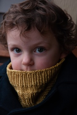 child in textured cowl