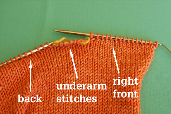 When joining you will be placing body sts on waste yarn for the underarm.