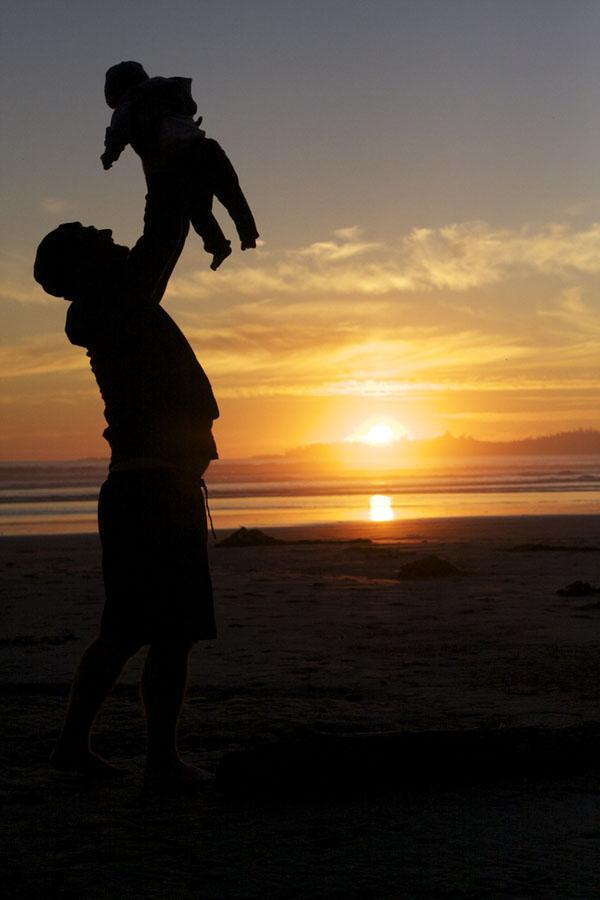 Gary and Hunter having fun in the setting sun