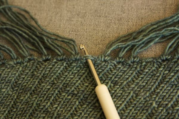 With wrong side of your shawl facing you insert your crochet hook from front to back.