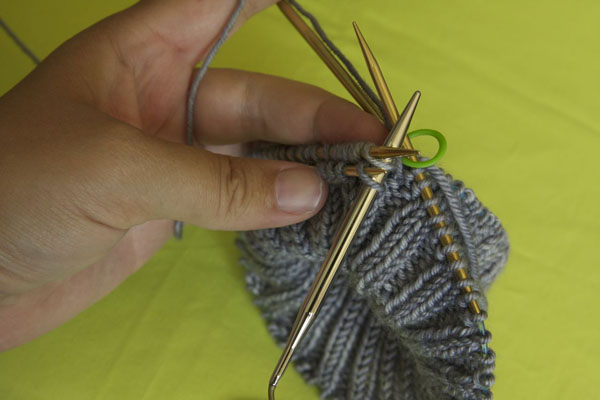Knitting the two stitches together