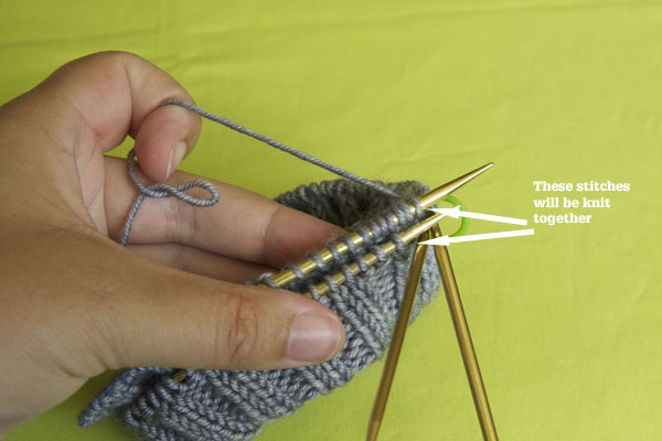 You are working these stitches together to close up the doubled brim.