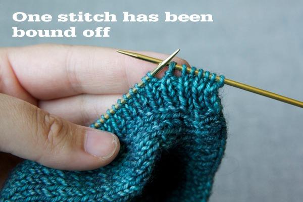 One stitch has been bound off