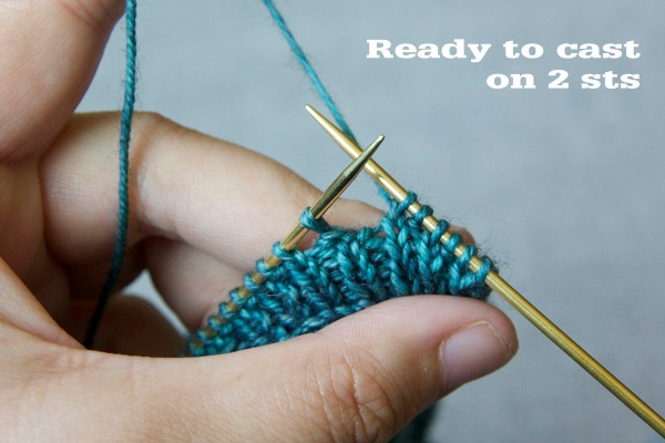 5. pass 1 stitch from right hand needle to left hand needle