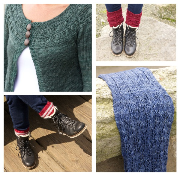 (clockwise from top left) A Tea Leaves cardi in SweetGeorgia, Paved boot toppers knit by Em Read in SweetGeorgia, Lumberjack socks in Madelinetosh DK, and a Thistle scarf in a skein of silk and merino I picked up in Ireland