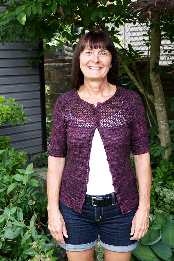 My mum in the Grace sweater (by Jane Richmond) I finished for Mothers Day