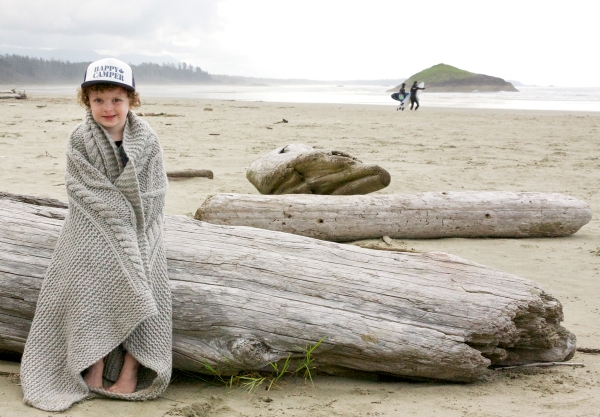 My big girl, all wrapped up on the beach