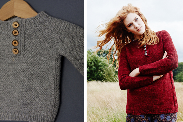 This year I designed the Hitchcock Sweater for Pom Pom Quarterly, my wee prototype is on the left and the finished ladies is on the right