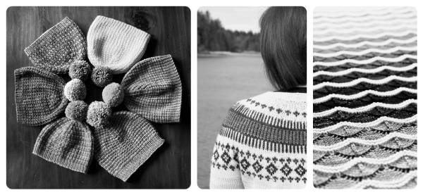 The bumble beanie (slip-stitch), clayoquot cardigan (fair-isle), and bounce blanket (stripes).