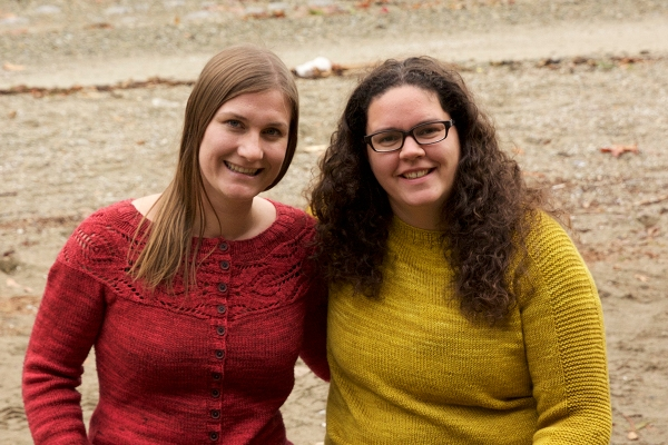 We each knit a sweater for ourselves this year! Emily is sporting her Lush Cardigan and I am wearing my Flax