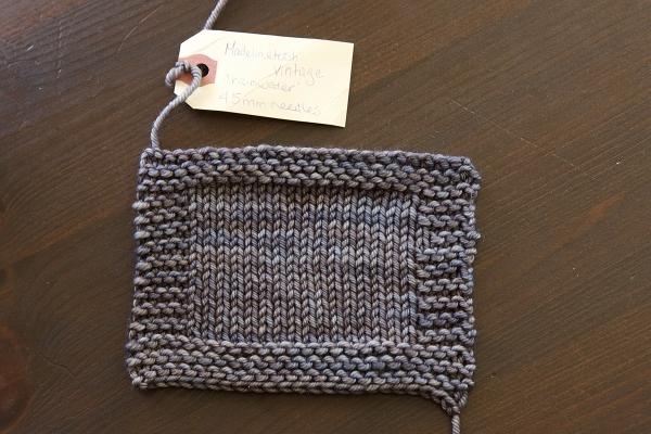 I have knit myself a little gauge swatch and attached a tag with the relevant information: which yarn, which needle size