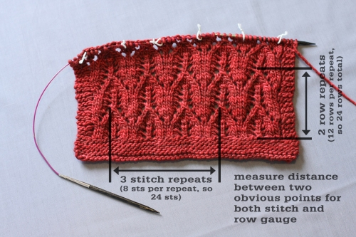 How to Measure Gauge over Lace
