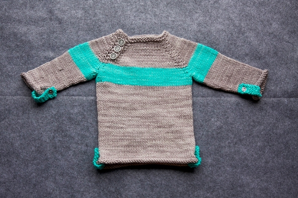 My mum now has a 'go to' baby sweater! This is the Baltic Baby Sweater knit up in Sweet Fiber Merino Twist Worsted in 'smoke' with accents in Madelinetosh Vintage in 'Button Jar'