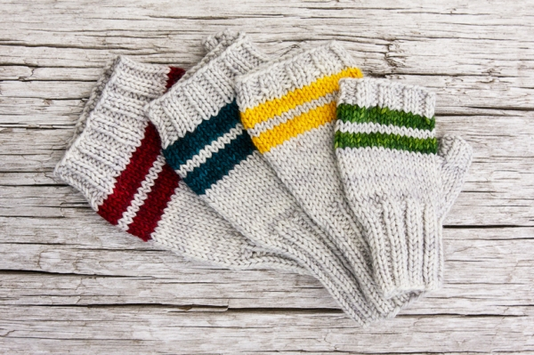 The original Paddle mitts feature simple stripes, but we hacked them to include a band of fair isle.