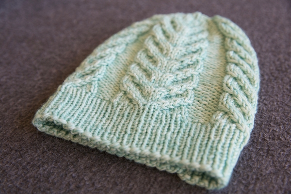 A pale minty green cabled hat with ribbed brim.