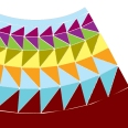 2-tone triangles of blue, yellow, green, then purple