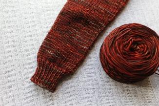 I knit the body of the sweater in Malabrigo Rios in 'marte'.