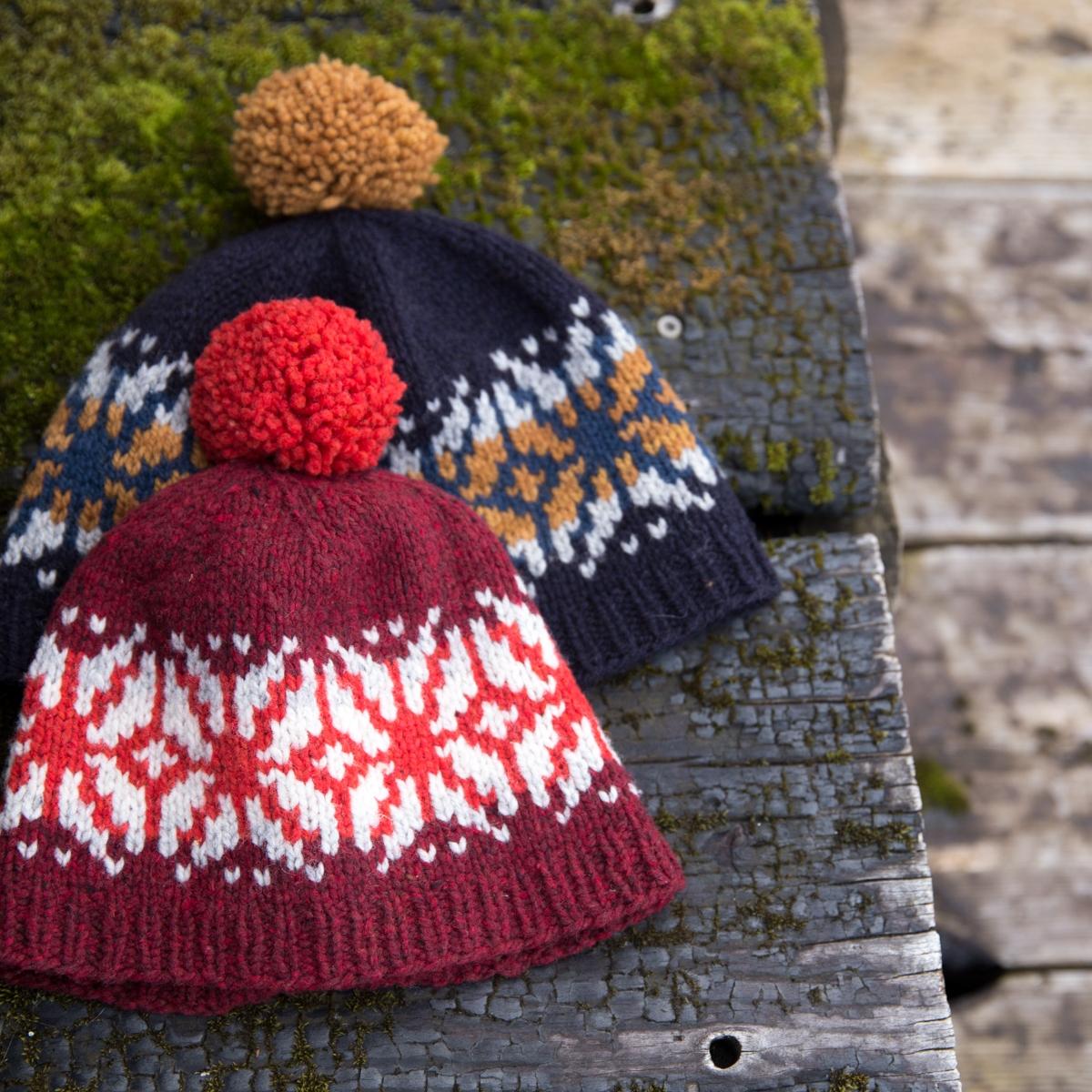 colourwork hats laid flat