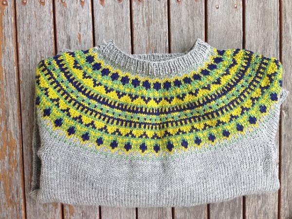Yellow and grey Trek colourwork yoke sweater