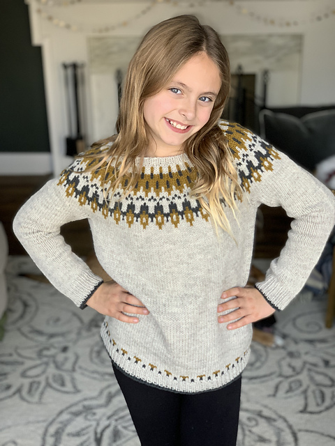 Yellow and grey Strange Brew colourwork yoke sweater