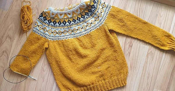 Yellow Strange Brew Sweater with colourwork yoke