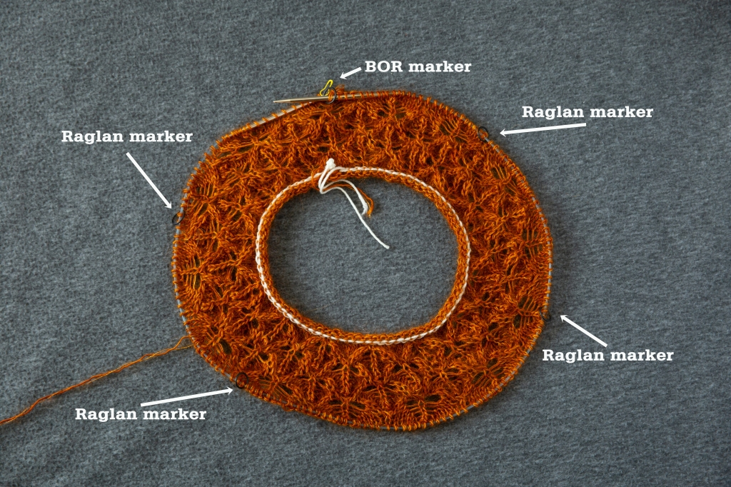 doughnut-shaped lace yoke in progress with marker placements noted