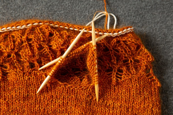 An orange sweater with the live sleeve sts shown on double pointed needles.