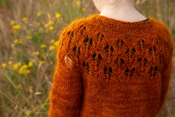 Bodhi, standing in a field of flowers, is photographed from the back to show off the lace yoke of her rusty orange sweater.