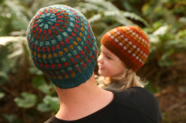 adult and child in matching colourwork hats