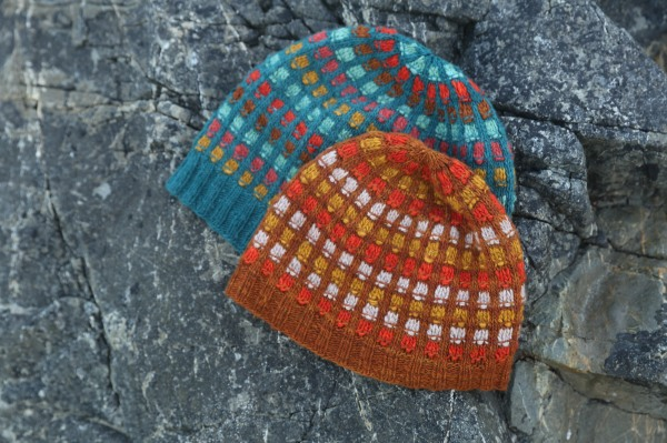 detail of adult and child size matching colourwork hats