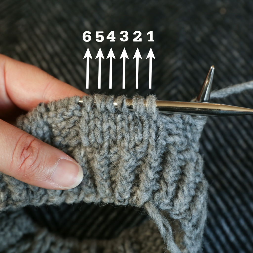 a bit of knitting in progress with 6 stitches numbered