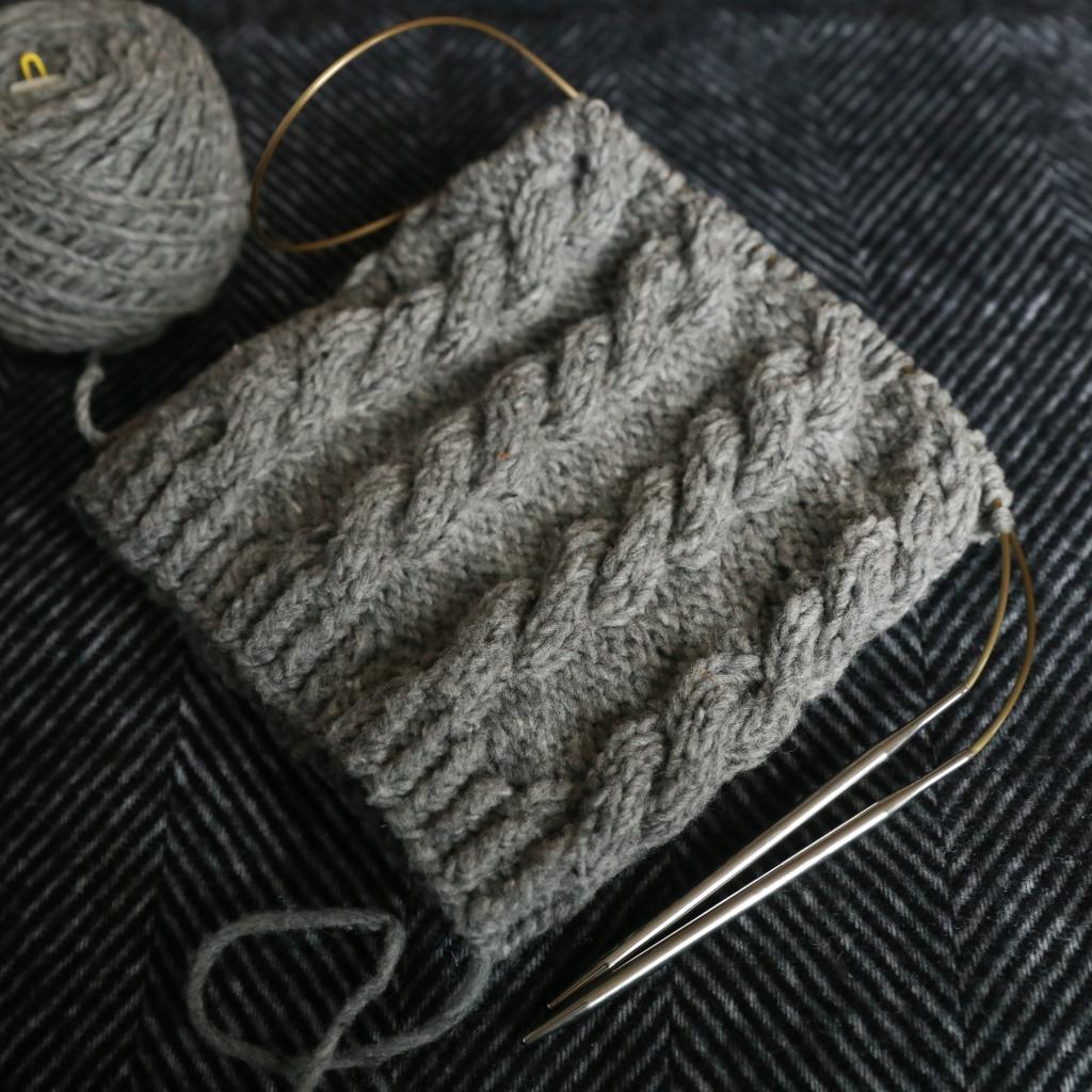 a hat on long circular knitting needles