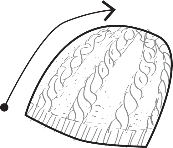 an illustration of a cabled hat