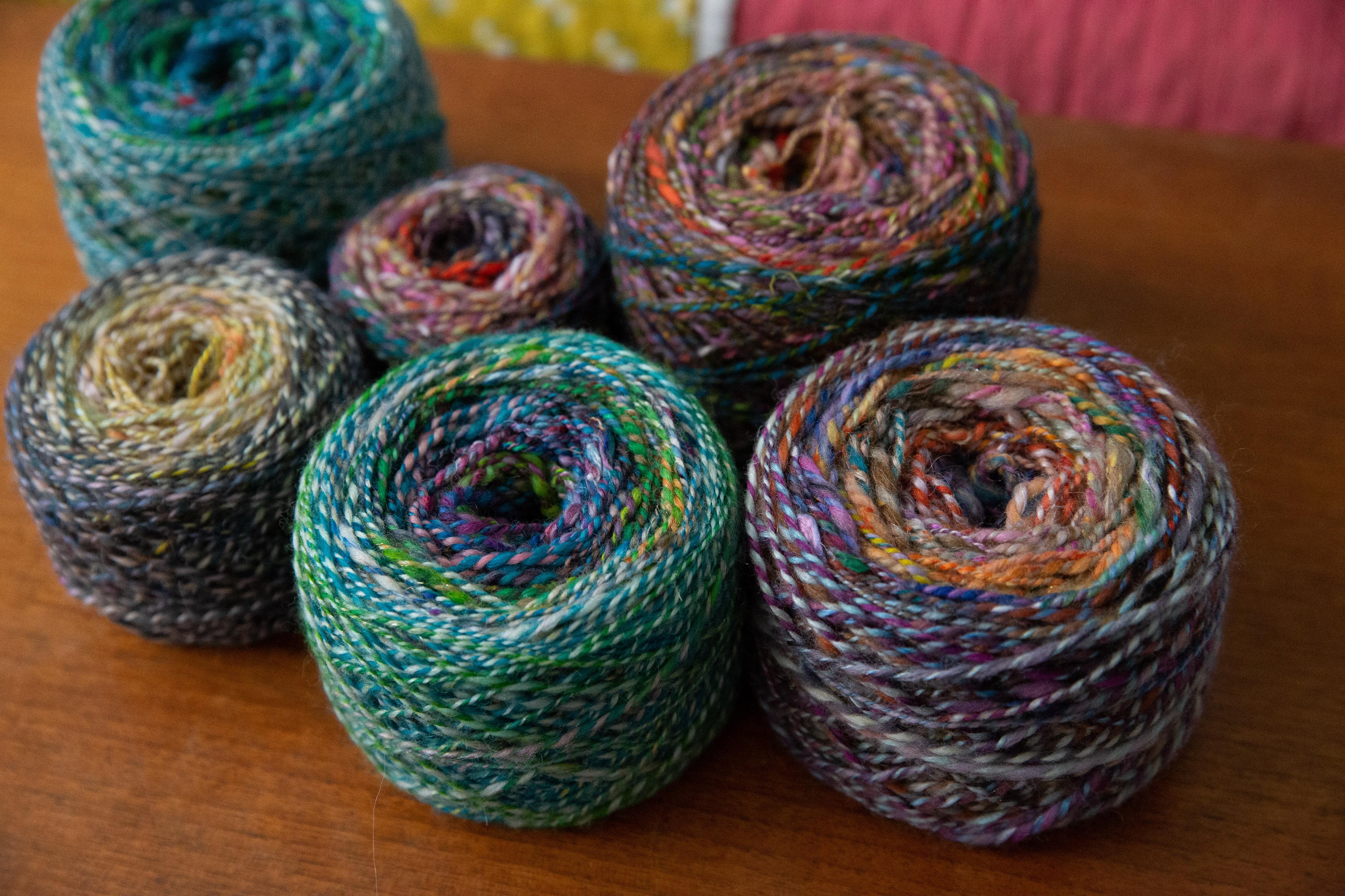handspun yarn in cakes