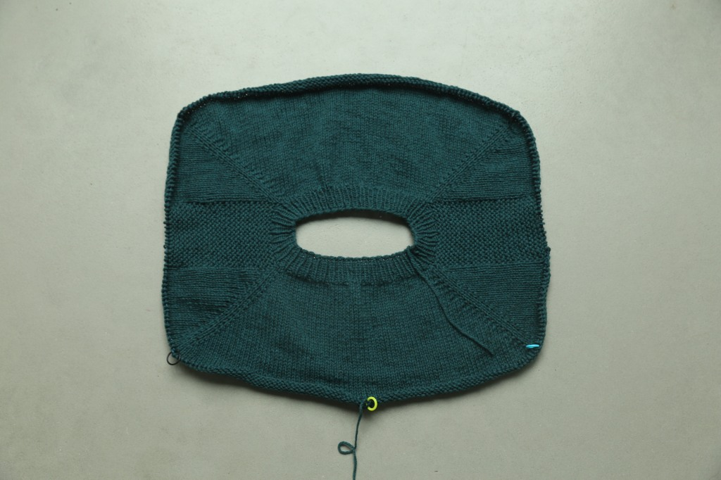 The yoke of a teal sweater viewed from above. 4 markers indicate the 4 sections of the yoke. and one marker is located at the centre of the back section.