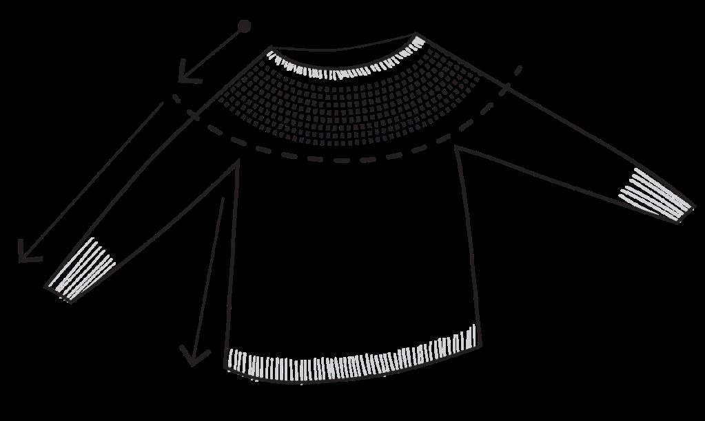 Yoke sweater construction diagram. illustration.